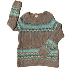 Justice Gray & Teal Sparkle Sweater - 8